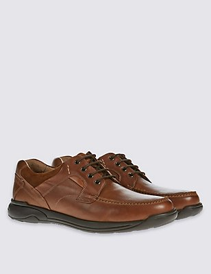 Wide fit Leather Lace-up Shoes, TAN, catlanding