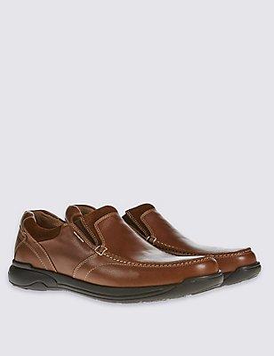 Leather Slip-on Shoes, TAN, catlanding