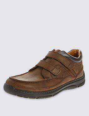 Chaussures en cuir extra-larges, dotées de la technologie Freshfeet™, MARRON, catlanding