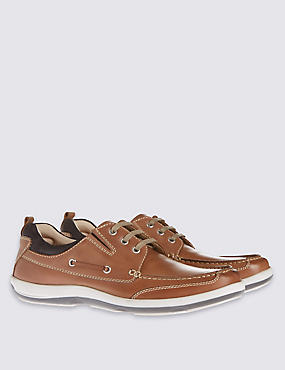 Leather Lace-up Shoes, BROWN, catlanding