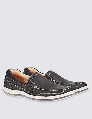 Leather Slip-on Shoes, NAVY, catlanding