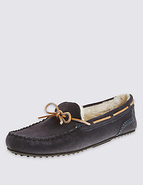 Suede Lace Moccasin Slippers, NAVY, catlanding