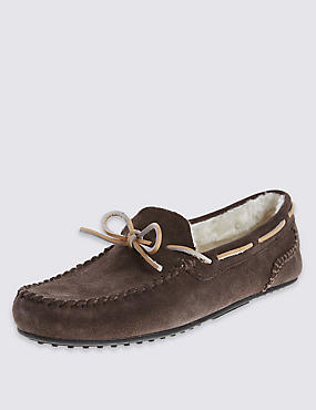 Suede Lace Moccasin Slippers, CHOCOLATE, catlanding