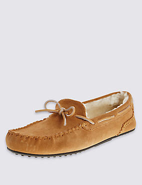 Suede Lace Moccasin Slippers, TAN, catlanding