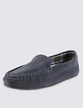 Suede Moccasin Slippers with Thinsulate™, NAVY, catlanding