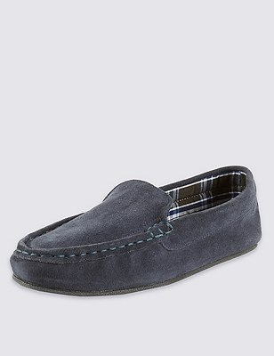 Freshfeet™ Suede Moccasins with Thinsulate™, NAVY, catlanding