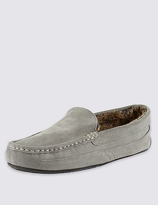 Suede Moccasin Slippers with Thinsulate™, LIGHT GREY, catlanding