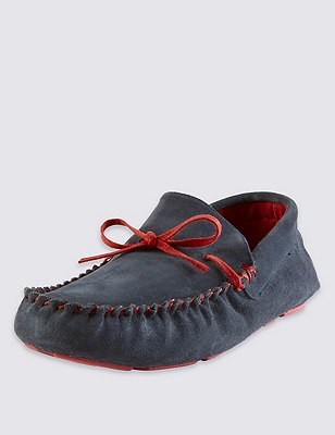 Suede Coloured Sole Slippers with Thinsulate™, NAVY MIX, catlanding