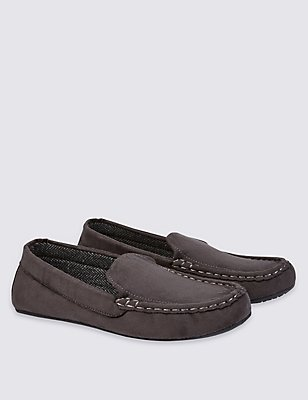 Suedette Slip-on Slippers, CHARCOAL, catlanding
