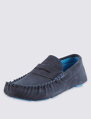 Suede Saddle Stitch Driver Slippers, NAVY MIX, catlanding