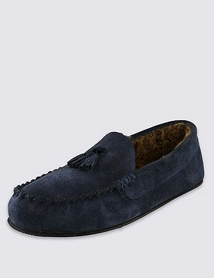 Suede Tassel Moccasin Slippers with Thinsulate™, NAVY MIX, catlanding