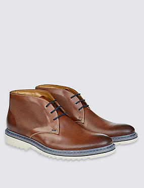 Leather Lace-up Embossed Chukka Boots, BROWN, catlanding