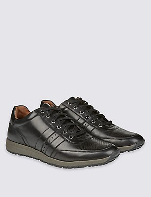 Leather Lace-up Trainers, BLACK, catlanding