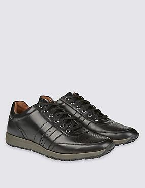 Zapatillas de deporte de piel con cordones, NEGRO, catlanding