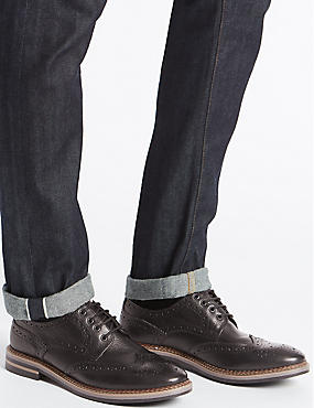 Big & Tall Leather Trisole Brogue Shoes, BLACK, catlanding