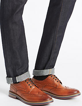Leather Trisole Brogue Shoes, CHESTNUT, catlanding
