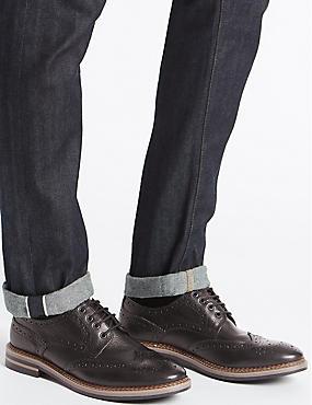 Leather Trisole Brogue Shoes, BLACK, catlanding