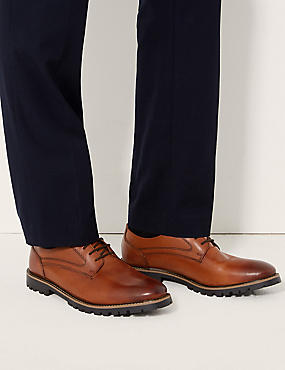 Leather Derby Lace-up Shoes, TAN, catlanding