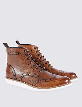 Leather Lace-up Brogue Wedge Boots, TAN, catlanding
