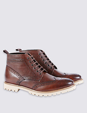Leather Lace-up Cleated Brogue Boots, BROWN, catlanding