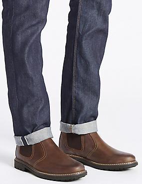 Leather Chelsea Slip-on Boots, BROWN, catlanding