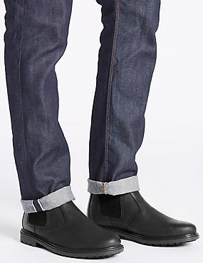 Leather Chelsea Slip-on Boots, BLACK, catlanding