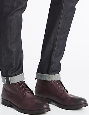 Leather Lace-up Boots, BROWN, catlanding