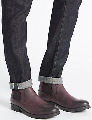 Leather Buckle Chelsea Boots, BROWN, catlanding