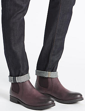 Leather Buckle Chelsea Boots, BROWN, catlanding