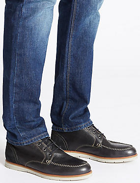 Leather Lace-up Chukka Boots, NAVY, catlanding