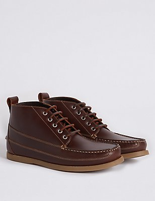 Leather Moccasin Lace-up Chukka Boots, BROWN, catlanding
