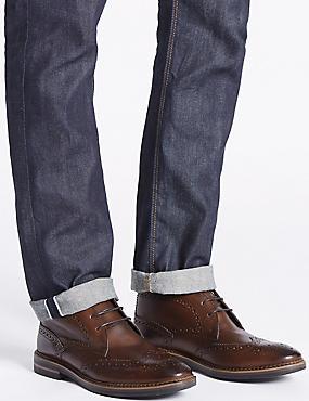 Leather Brogue Chukka Boots, BROWN, catlanding