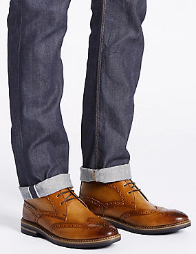 Leather Brogue Chukka Boots, TAN, catlanding