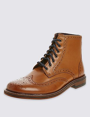 Leather Lace-up Brogue Boots, TAN, catlanding