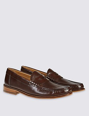 Leather Weave Penny Slip-on Shoes, BROWN, catlanding