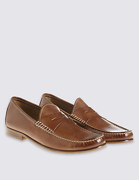 Leather Penny Slip-on Loafers, TAN, catlanding