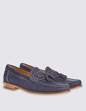 Leather Nubuck Tassel Slip-on Loafers, NAVY, catlanding