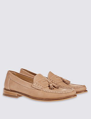Leather Nubuck Tassel Slip-on Loafers, STONE, catlanding