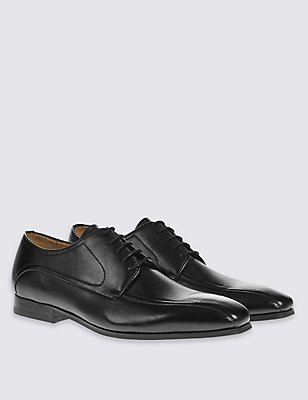 Leather Lace-up Shoes, BLACK, catlanding