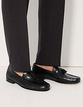 Leather Slip-on Tassel Loafers, BLACK, catlanding