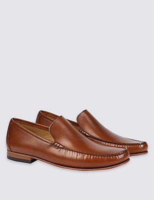 Leather Slip-on Loafers, TAN, catlanding