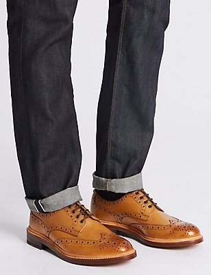 Leather Brogue Shoes, TAN, catlanding