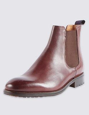 Leather Chelsea Boots, CHESTNUT, catlanding