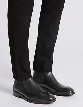 Leather Elastic Chelsea Boots, BLACK, catlanding