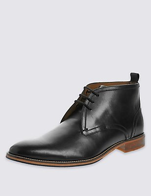 Leather Lace-up Layered Chukka Boots, BLACK, catlanding