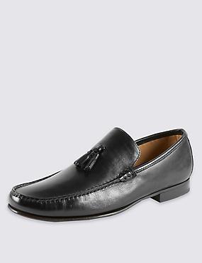 Leather Tassel Loafers, BLACK, catlanding