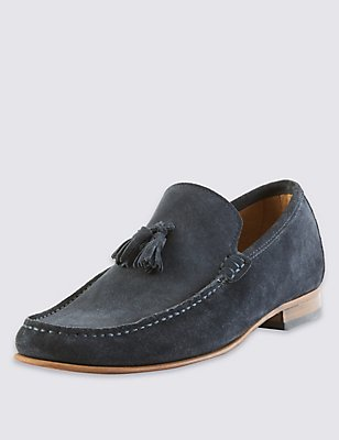Suede Tassel Slip-on Loafers, NAVY, catlanding
