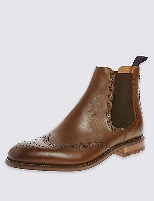 Brogue Chelsea Ankle Boots, BROWN, catlanding