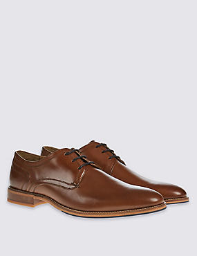 Leather Layered Sole Lace-up Derby Shoes, BROWN, catlanding