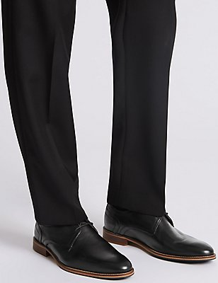 Leather Layered Sole Lace-up Derby Shoes, BLACK, catlanding